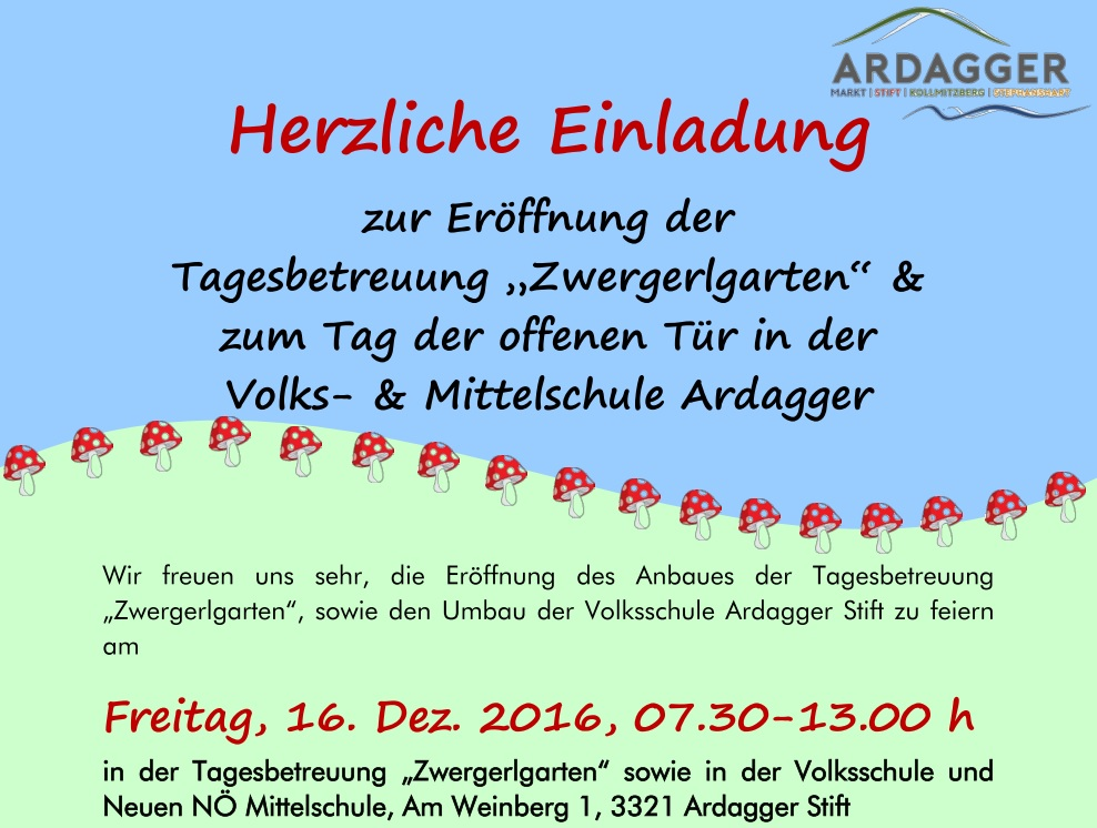 ardagger: einladung zum tag der offenen tür am freitag, den 16.12, Einladungen